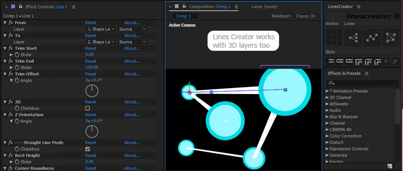 3D lines with lines creator for After Effects.